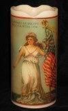 Flameless 4th of July Candle - Beautiful Woman, American Flag and Drum