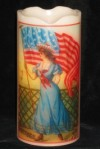 Flameless 4th of July Candle - Beautiful Woman and American Flags