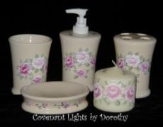 Custom Order for Carla in NC - Rose Fan Bathroom Accessory Set