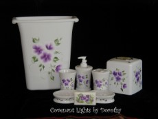 Custom Order for Carla in NC - Bathroom Accessory Set - Violets