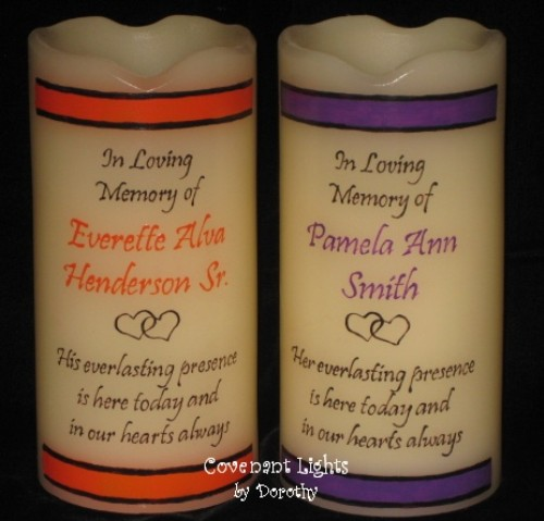 hand painted personalized flameless memorial candles