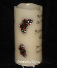 Memorial Candle - Flameless (Butterflies-2 black & orange)