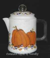Vintage Enamel Coffee Pot - Pumpkins