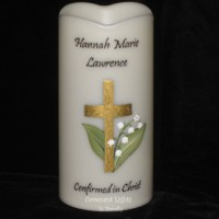 Confirmation Candle - Flameless (Gold Cross Lilies of the Valley)