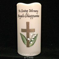 Memorial Candle - Flameless (Cross and Lilies of the Valley)