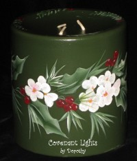 Christmas - Holly, Pines, White Flowers & Berries on Green Candle
