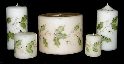 Hand Painted Christmas Candles