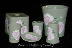 Custom Order for Lori in NJ - Bathroom Accessory Set - Roses on green