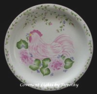 Plate - Pink Chicken in Rose Garden 0754