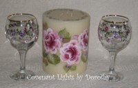 Shower or Wedding Candle with Goblets - Personalized