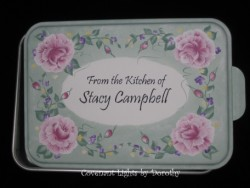 Cake Pan 2 - PERSONALIZED (soft green base/shabby pink roses)