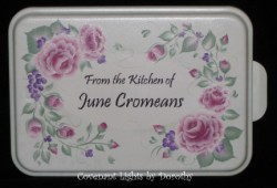 Cake Pan 13 - PERSONALIZED (soft green base/shabby pink roses)