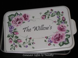 Cake Pan 4 - PERSONALIZED (soft green base/shabby pink roses)